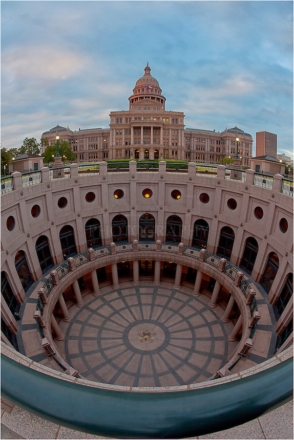 Using a fisheye lens, this view of the state capitol looks south and encompasses ~ 120 degrees, from the basement of the building to the blue sky above downtown Austin, Texas.