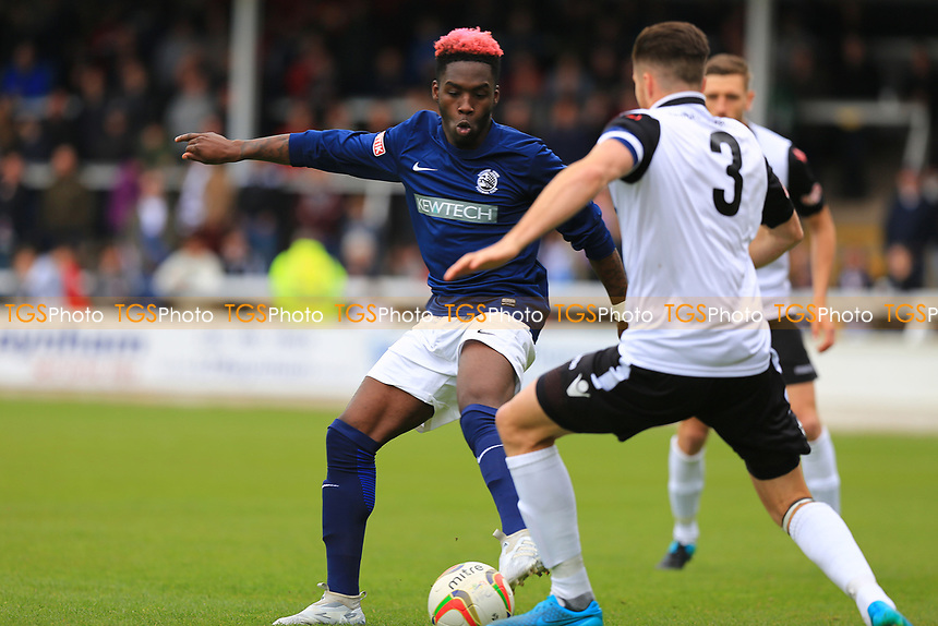 Rod Orlando-Young of Royston Town attempts to pass by Joel Edwards of Hereford FC during Hereford FC vs Royston Town, Champion Of Champions Match Football at Edgar Street on 29th April 2017
