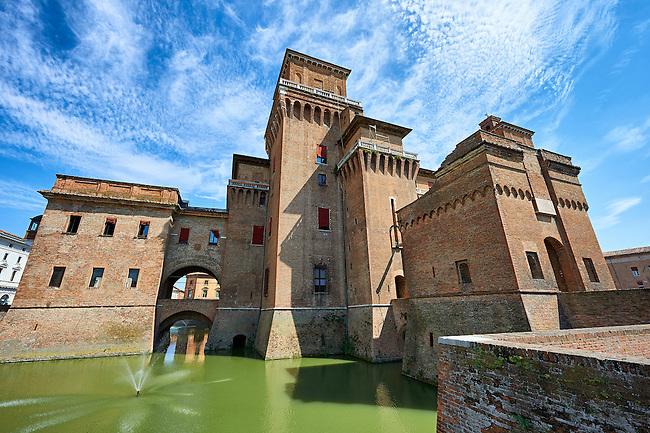 Castello Estense or Castello di San Michele, the 16th century Este Marquis fortification, Farrara, Northern Italy