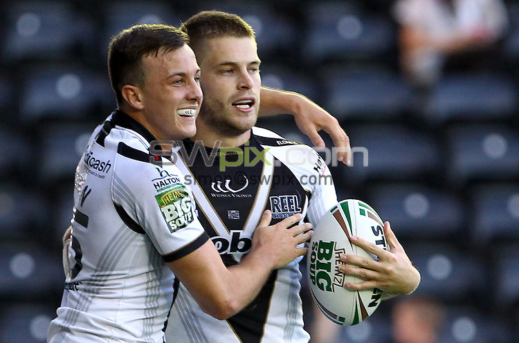PICTURE BY ALEX WHITEHEAD/SWPIX.COM - Rugby League - Super League - Widnes Vikings vs Hull FC - Stobart Stadium Halton, Widnes, England - 18/08/12 - Widnes' Rhys Hanbury (R) celebrates his try with Danny Craven (L).