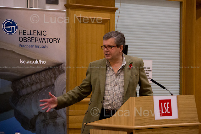Kevin Featherstone.<br /> <br /> London, 10/11/2015. Today, the LSE (London School of Economics and Political Studies) presented a public lecture - part of the LSE Hellenic Observatory public lecture - called &quot;Economic Blues: The Left in Government Times&quot; hosted by Euclid Tsakalotos (Greek Minister of Finance; Syriza Politician; left-wing Greek economist; he has been the Minister of Finance in the Second Cabinet of Alexis Tsipras since 23 September 2015; he previously served as the Minister of Finance in the First Cabinet of Alexis Tsipras from 6 July 2015, following Yanis Varoufakis's resignation, to the 28 August 2015, when a caretaker cabinet was appointed before the September 2015 legislative election; he studied economics at the universities of Oxford and Sussex; he was Professor at the University of Kent, the Athens University of Economics and Business and is currently a professor of economics at the University of Athens). Chair of the event was Professor Kevin Featherstone (Director of the LSE Hellenic Observatory Director). From the event online page: &lt;&lt; What are the prospects of the Left in government after the summer agreement? Can that agreement be incorporated into a political strategy that furthers social justice and a different economic model? Can Greece act as catalyst for wider progressive changes in the Eurozone and the EU?&gt;&gt;.<br /> <br /> Here there is the link to podcast and video of the lecture: http://bit.ly/1HCiq2D