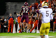 Blacksburg, VA - OCT 6, 2018: Virginia Tech Hokies running back Steven Peoples (32) is fired up after a big gain during first  half action of game between Notre Dame and Virginia Tech at Lane Stadium/Worsham Field Blacksburg, VA. (Photo by Phil Peters/Media Images International)
