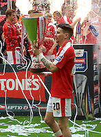 Adam Hammill of Barnsley with the trophy after winning the Johnstone's Paint Trophy Final match between Oxford United and Barnsley at Wembley Stadium, London, England on 3 April 2016. Photo by Alan  Stanford / PRiME Media Images.