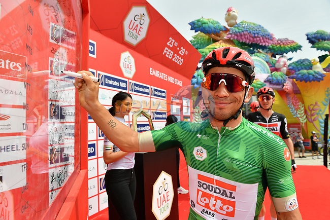 Green Jersey holder Caleb Ewan (AUS) Lotto-Soudal at sign on before Stage 4 the Emirates NBD Stage of the UAE Tour 2020 running 173km from Dubai Zabeel Park to Dubai City Walk, Dubai. 26th February 2020.<br /> Picture: LaPresse/Massimo Paolone | Cyclefile<br /> <br /> All photos usage must carry mandatory copyright credit (© Cyclefile | LaPresse/Massimo Paolone)
