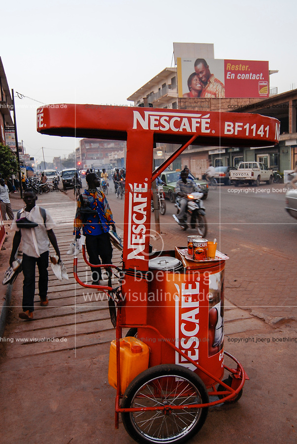 Burkina Faso, Ouagadougou, mobile Nescafe shop, Nescafe is a brand of swiss company Nestle