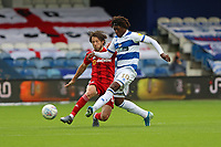 Eberechi Eze of Queens Park Rangers passes the ball as Harry Arter of Fulham pressures him during Queens Park Rangers vs Fulham, Sky Bet EFL Championship Football at the Kiyan Prince Foundation Stadium on 30th June 2020