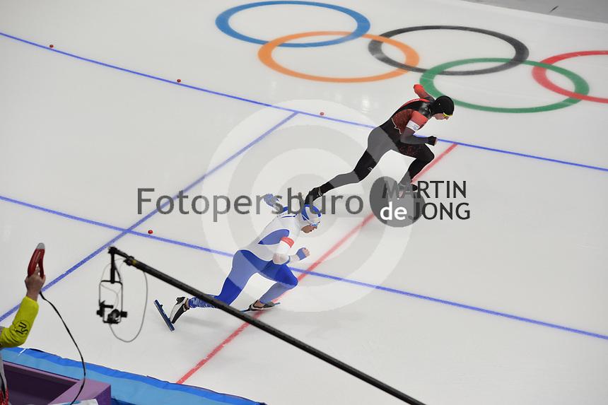 OLYMPIC GAMES: PYEONGCHANG: 19-02-2018, Gangneung Oval, Long Track, 500m Men, Mika Poutala (FIN), Alex Boisvert-Lacroix (CAN), ©photo Martin de Jong