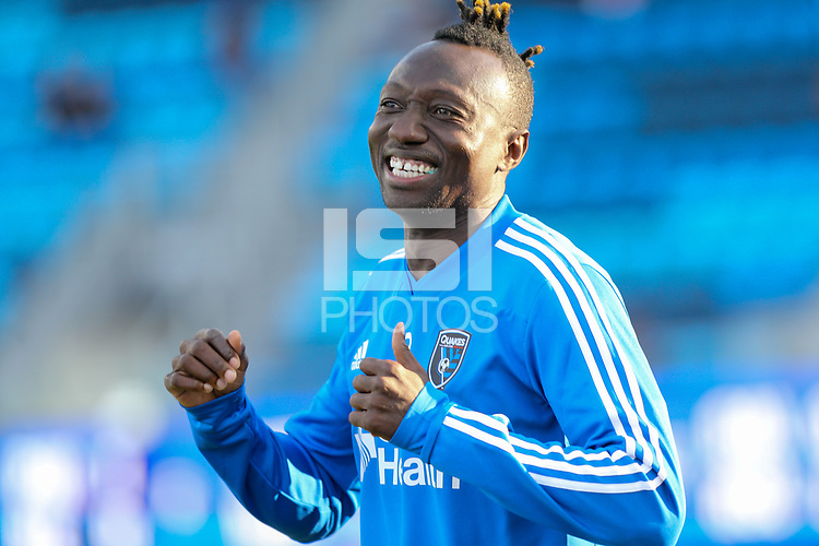 San Jose, CA - Saturday August 25, 2018: Dominic Oduro prior to a Major League Soccer (MLS) match between the San Jose Earthquakes and Vancouver Whitecaps FC at Avaya Stadium.