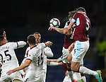 Jeff Hendrick of Burnley (hidden) heads the first goal during the Premier League match at Turf Moor Stadium, Burnley. Picture date: September 26th, 2016. Pic Simon Bellis/Sportimage