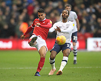 Preston North End's Daniel Johnson battles with  Nottingham Forest's Joao Carvalho<br /> <br /> Photographer Mick Walker/CameraSport<br /> <br /> The EFL Sky Bet Championship - Nottingham Forest v Preston North End - Saturday 8th December 2018 - The City Ground - Nottingham<br /> <br /> World Copyright © 2018 CameraSport. All rights reserved. 43 Linden Ave. Countesthorpe. Leicester. England. LE8 5PG - Tel: +44 (0) 116 277 4147 - admin@camerasport.com - www.camerasport.com