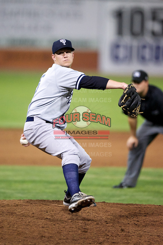 Staten Island Yankees pitcher Josh Romanski #6 during a game against the Batavia Muckdogs at Dwyer Stadium on July 30, 2012 in Batavia, New York.  Batavia defeated Staten Island 5-4 in 11 innings.  (Mike Janes/Four Seam Images)