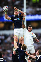 John Barclay of Scotland wins the ball at a lineout. RBS Six Nations match between England and Scotland on March 11, 2017 at Twickenham Stadium in London, England. Photo by: Patrick Khachfe / Onside Images