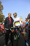 Cycling legend and Bergamo native Felice Gimondi with World Champion Alejandro Valverde (ESP) Movistar Team before the start of the 112th edition of Il Lombardia 2018, the final monument of the season running 241km from Bergamo to Como, Lombardy, Italy. 13th October 2018.<br /> Picture: Eoin Clarke | Cyclefile<br /> <br /> <br /> All photos usage must carry mandatory copyright credit (© Cyclefile | Eoin Clarke)