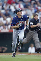 Travis Fryman of the Cleveland Indians runs to first base during a 2002 MLB season game against the Los Angeles Angels at Angel Stadium, in Los Angeles, California. (Larry Goren/Four Seam Images)