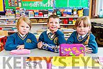 Amy Mangan, Daniel Collins and Nollaig Collins on their first day at school in Loughfouder NS Knocknagoshel on Tuesday