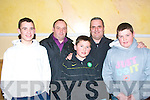 Soccer fans: Attending the Tralee Dynamos/Kingdom boys entrance to the big league at the Mount Brandon hotel last Wednesday night were l-r: Declan Ryle, Michael O'Callaghan, Peter Jnr and Snr Hawkins and Peter Murphy all Tralee
