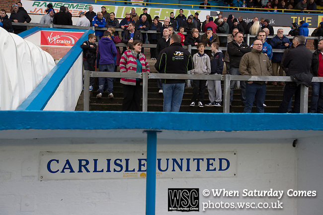 Carlisle United 1 Accrington Stanley 0, 15/11/2014. Brunton Park, League Two. Home fans gathering in the north paddock prior to the English League Two match between Carlisle United and visitors Accrington Stanley at Brunton Park. The match was won by the home team by one goal to nil, the winner scored by Derek Asamoah in the 21st minute. The match was watched by 4,069 spectators. Photo by Colin McPherson.