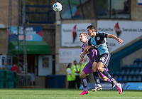 Luke O'Nien of Wycombe Wanderers battle for the ball during the Sky Bet League 2 match between Wycombe Wanderers and Plymouth Argyle at Adams Park, High Wycombe, England on 12 September 2015. Photo by Andy Rowland.