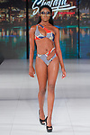 Model walks runway in a swimsuit from ShaLaJa Swimwear the  collection by Shaquoya Jackson, during Society Fashion Week Spring Summer 2019 in New York City on September 8, 2018.
