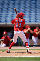 Clearwater Threshers second baseman Raul Rivas (13) at bat during a game against the Fort Myers Miracle on April 25, 2018 at Spectrum Field in Clearwater, Florida.  Clearwater defeated Fort Myers 9-5. (Mike Janes/Four Seam Images)