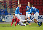 St Johnstone Academy v Manchester United Academy....17.04.15   <br /> Callum Whelan is fouled by Gavin Brown<br /> Picture by Graeme Hart.<br /> Copyright Perthshire Picture Agency<br /> Tel: 01738 623350  Mobile: 07990 594431
