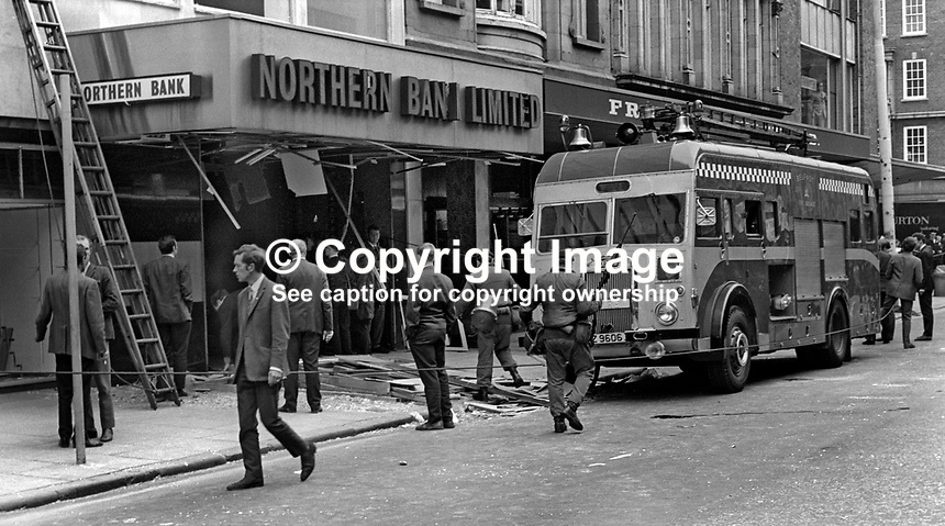 Security force presence at the scene of Provisional IRA bomb attack on Northern Bank premises in High Street, Belfast, N Ireland, UK.  There were 30 injuries. 16th July 1970. 197007160301<br />