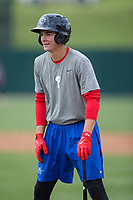 Mickey Moniak (22) of the Lakewood BlueClaws during batting practice prior to the game against the Kannapolis Intimidators at Kannapolis Intimidators Stadium on April 6, 2017 in Kannapolis, North Carolina.  The BlueClaws defeated the Intimidators 7-5.  (Brian Westerholt/Four Seam Images)