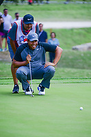 Jhonattan Vegas (VEN) lines up his putt on 18 during round 2 of the Valero Texas Open, AT&amp;T Oaks Course, TPC San Antonio, San Antonio, Texas, USA. 4/21/2017.<br /> Picture: Golffile | Ken Murray<br /> <br /> <br /> All photo usage must carry mandatory copyright credit (&copy; Golffile | Ken Murray)