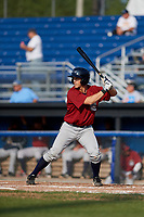 Mahoning Valley Scrappers shortstop Jesse Berardi (22) at bat during the first game of a doubleheader against the Batavia Muckdogs on August 28, 2017 at Dwyer Stadium in Batavia, New York.  Mahoning Valley defeated Batavia 6-3.  (Mike Janes/Four Seam Images)