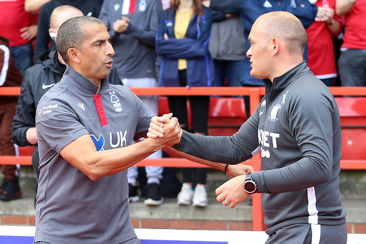 Nottingham Forest manager Sabri Lamouchi embraces Preston North End manager Alex Neil before kick off<br /> <br /> Photographer David Shipman/CameraSport<br /> <br /> The EFL Sky Bet Championship - Nottingham Forest v Preston North End - Saturday 31st August 2019 - The City Ground - Nottingham<br /> <br /> World Copyright © 2019 CameraSport. All rights reserved. 43 Linden Ave. Countesthorpe. Leicester. England. LE8 5PG - Tel: +44 (0) 116 277 4147 - admin@camerasport.com - www.camerasport.com