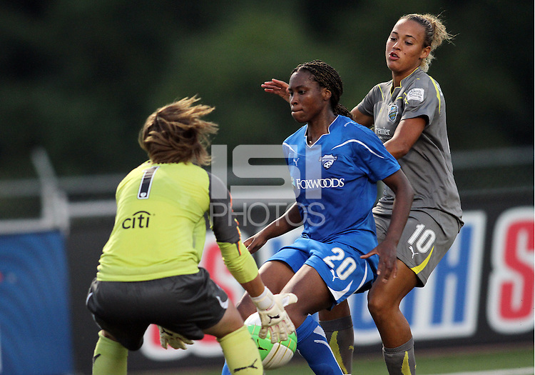 Lianne Sanderson #10 of the Philadelphia Independence is blocked by Alyssa Naeher #1 and Ifuma Deice #20 of the Boston Breakers during a WPS match at John A. Farrell Stadium on August 29 2010, in West Chester, PA. Breakers won 2-1.