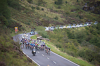 peloton up Brecon Beacons<br /> <br /> 2013 Tour of Britain<br /> stage 5: Machynlleth to Caerphilly (177km)