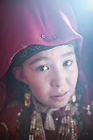 Portrait of Shirin Bu..Camp of Ortobil, Manara (Sufi camp), near the borders with China and Tajikistan...Trekking with yak caravan through the Little Pamir where the Afghan Kyrgyz community live all year, on the borders of China, Tajikistan and Pakistan.