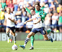 Preston North End's Alan Browne is fouled by Sheffield Wednesday's Adam Reach<br /> <br /> Photographer Rich Linley/CameraSport<br /> <br /> The EFL Championship - Preston North End v Sheffield Wednesday - Saturday August 24th 2019 - Deepdale Stadium - Preston<br /> <br /> World Copyright © 2019 CameraSport. All rights reserved. 43 Linden Ave. Countesthorpe. Leicester. England. LE8 5PG - Tel: +44 (0) 116 277 4147 - admin@camerasport.com - www.camerasport.com