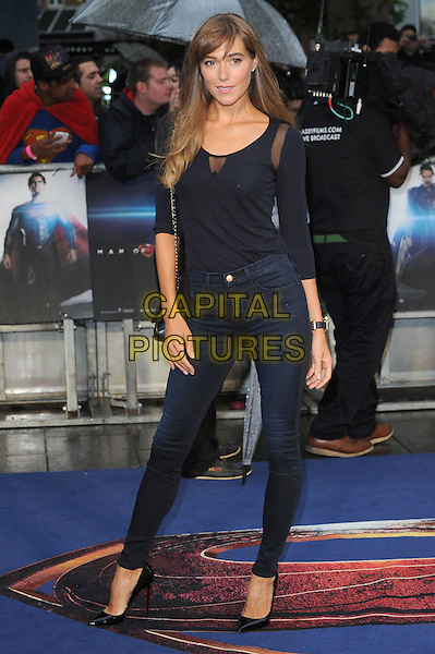 Jacqui Ainsley <br /> 'Man Of Steel' UK film premiere, Empire cinema, Leicester Square, London, England.<br /> 12th June 2013<br /> full length black top jeans denim  <br /> CAP/BEL<br /> &copy;Tom Belcher/Capital Pictures