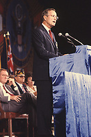 Chicago, Illinois, USA, August 22, 1988<br /> VIce-President George H. W. Bush addresses the Veterans of Foreign Wars convention during his run as a candidate for President. Credit: Mark Reinstein/MediaPunch