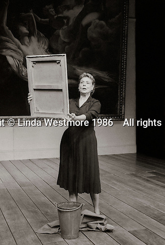 """Valentina Nrovka (Irene Worth) in  """"The Bay at Nice"""" written and directed by David Hare, designed by John Gunter, National Theatre, London, 1986."""
