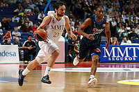 22.04.2012 SPAIN - ACB match played between Real Madrid vs Estudiantes at Palacio de los deportes stadium. The picture show Sergio Llull Melia (Spanish point guard of Real Madrid)