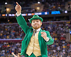 Mar. 26, 2015; The Leprechaun celebrates in the second half against Wichita State in the regional semifinal of the 2015 NCAA Tournament. Notre Dame won 81-70. (Photo by Matt Cashore/University of Notre Dame)