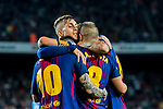 Andres Iniesta Lujan of FC Barcelona celebrates with teammates during the La Liga 2017-18 match between FC Barcelona and Malaga CF at Camp Nou on 21 October 2017 in Barcelona, Spain. Photo by Vicens Gimenez / Power Sport Images