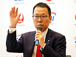 """October 3, 2017, Tokyo, Japan - Newly appointed JAL SBI Fintech president Satoshi Nishi speaks as Japan Airlines and SBI Holdings announced to form a joint venture """"JAL SBI Fintech"""" at JAL headquarters in Tokyo on Tuesday, October 3, 2017.  JAL SBI Fintech will launch the business of multi-currency prrpaid card next year.   (Photo by Yoshio Tsunoda/AFLO) LWX -ytd-"""