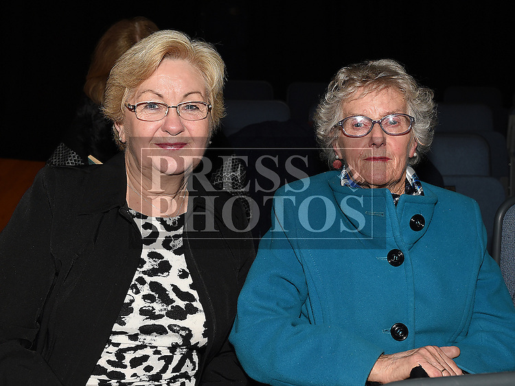 Geraldine Kearns and Anna Tallon pictured at the Trad Na Samhna music show in the Barbican Centre. Photo:Colin Bell/pressphotos.ie
