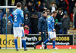 St Johnstone v Celtic...13.12.15  SPFL  McDiarmid Park, Perth<br /> Chris Millar limps off injured<br /> Picture by Graeme Hart.<br /> Copyright Perthshire Picture Agency<br /> Tel: 01738 623350  Mobile: 07990 594431