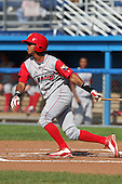 Williamsport Crosscutters infielder Edgar Duran (13) during a game vs the Batavia Muckdogs at Dwyer Stadium in Batavia, New York July 25, 2010.   Batavia defeated Williamsport 8-1.  Photo By Mike Janes/Four Seam Images