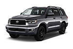 2018 Toyota Sequoia TRD Sport 5 Door SUV angular front stock photos of front three quarter view