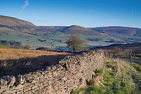Stone wall on Hall Hill looking towards the Hodder Valley.