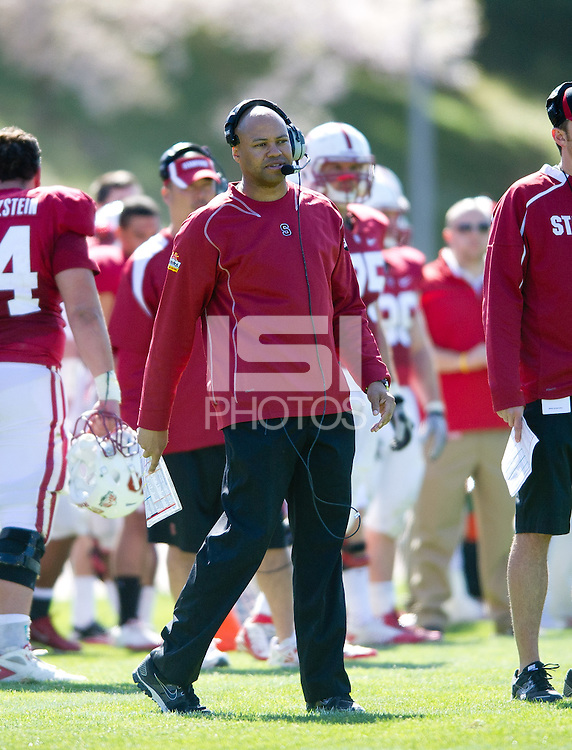San Francisco, Ca - April 16, 2012: The Cardinal and White Spring football game at Kezar stadium.