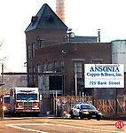 WATERBURY, CT. 12 December 2011-121211SV02-Police and firefighters were called to a hazardous material spill at Ansonia Copper & Brass on West Liberty Street in Waterbury Monday. There was a report of a spill from a pollution tank in a 40 x 40 area. Firefighters contained the spill and DEEP was called to oversee cleanup.<br /> Steven Valenti Republican-American