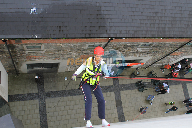 Edwina Campion at the DAR abseil off the D Hotel..(Photo credit should read Jenny Matthews www.newsfile.ie)....This Picture has been sent you under the conditions enclosed by:.Newsfile Ltd..The Studio,.Millmount Abbey,.Drogheda,.Co Meath..Ireland..Tel: +353(0)41-9871240.Fax: +353(0)41-9871260.GSM: +353(0)86-2500958.email: pictures@newsfile.ie.www.newsfile.ie.