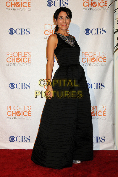 LISA EDELSTEIN.Pressroom at the 36th Annual People's Choice Awards held at the Nokia Theatre LA Live, Los Angeles, California, USA..January 6th, 2009.press room full length black sleeveless maxi dress beads beaded .CAP/ADM/BP.©Byron Purvis/AdMedia/Capital Pictures.